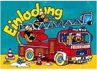 8 Einladungen + Umschläge Feuerwehr