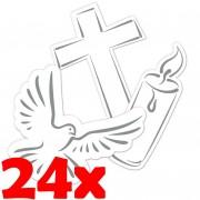 24-teiliges XXL-Konfetti Weiße Taube