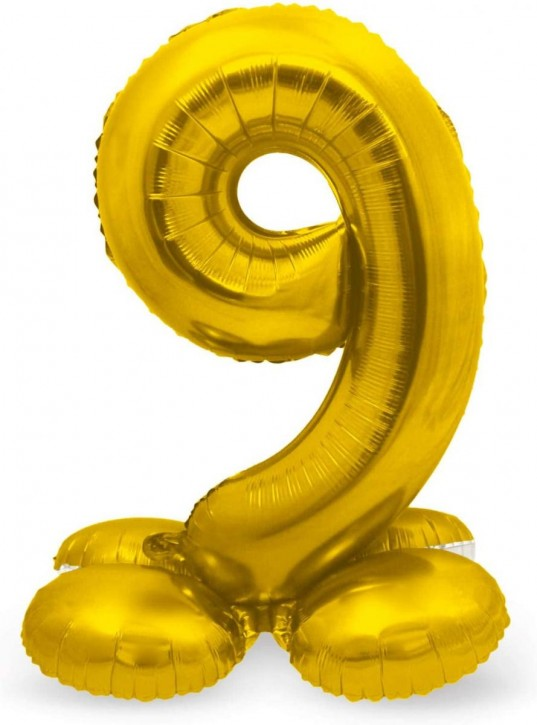 Stehender Folienballon in Gold - Zahl 9
