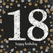 16 Servietten mit der Zahl 18 - Sparkling Celebration