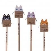 4 Bleistifte mit Radiergummi - Katzen