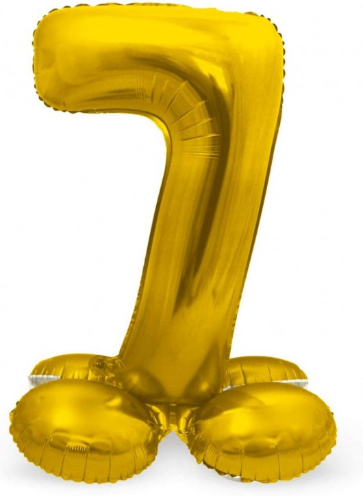 Stehender Folienballon in Gold - Zahl 7