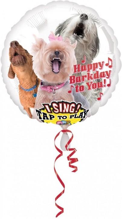 Singender Folienballon Süße Hunde