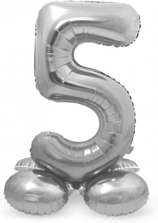 Stehender Folienballon in Silber - Zahl 5