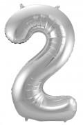 Folienballon Zahl 2 - in Silber