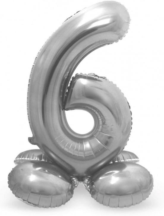 Stehender Folienballon in Silber - Zahl 6