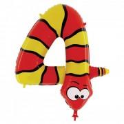 Folienballon Zahl 4 - Schlange