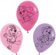 5 Luftballons Paw Patrol Pink