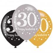 6 Luftballons 30. Geburtstag - Sparkling Celebration