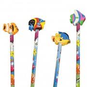 4 Bleistifte mit Radiergummi - Fische
