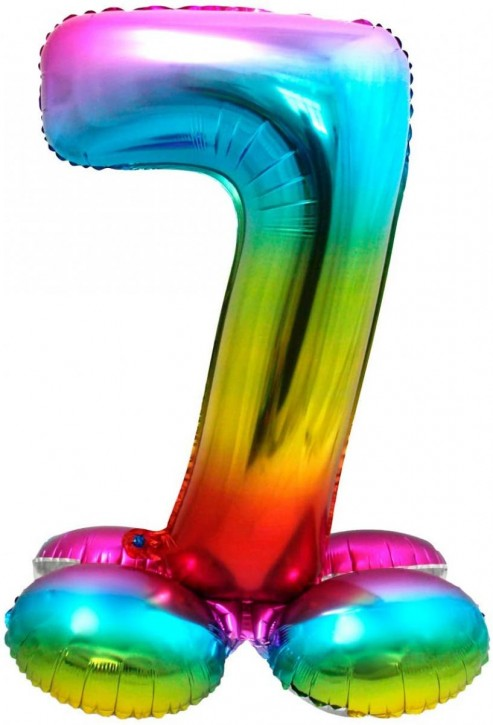 Stehender Folienballon in bunt - Zahl 7