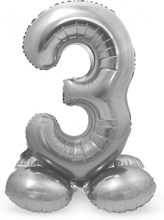Stehender Folienballon in Silber - Zahl 3