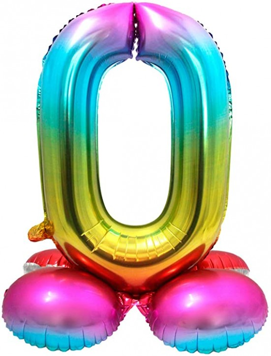 Stehender Folienballon in bunt - Zahl 0