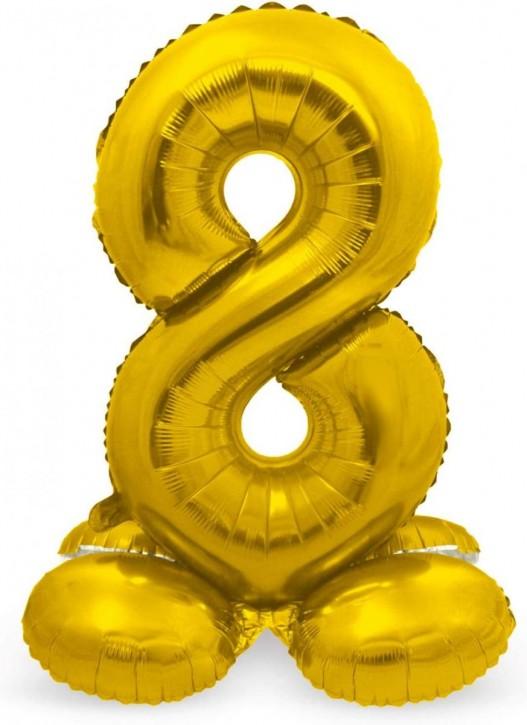 Stehender Folienballon in Gold - Zahl 8