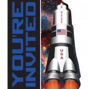 8 Einladungen + Umschläge Weltraum - Space Blast