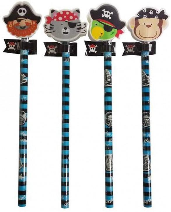 4 Bleistifte mit Radiergummi - Piraten-Tierchen