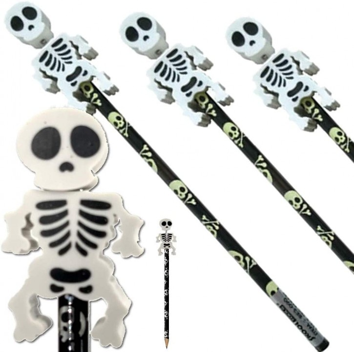 4 Bleistifte mit Radiergummi - Skelett