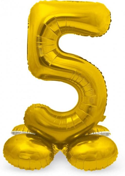 Stehender Folienballon in Gold - Zahl 5