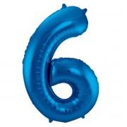 Folienballon Zahl 6 - in Blau