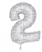 Folienballon Zahl 2 - in Silber - mit Muster