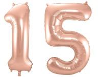 Folienballon-Set Zahl 15 - in Roségold