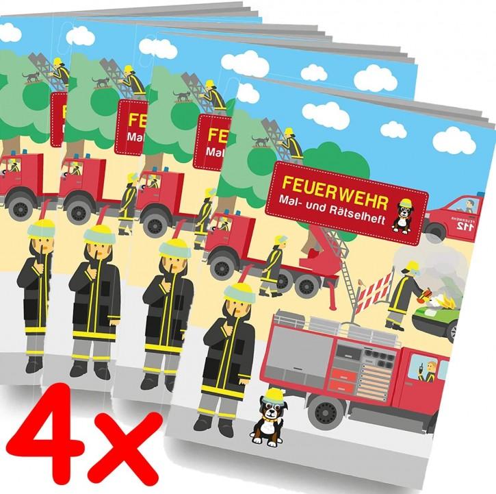 4 Mal- und Rätselhefte Feuerwehr