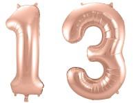 Folienballon-Set Zahl 13 - in Roségold