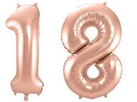 Folienballon-Set Zahl 18 - in Roségold