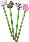 4 Bleistifte mit Radiergummi - Bauernhof