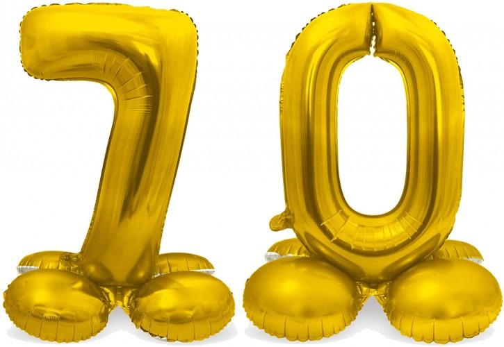 Stehende Folienballons in Gold - Zahl 70