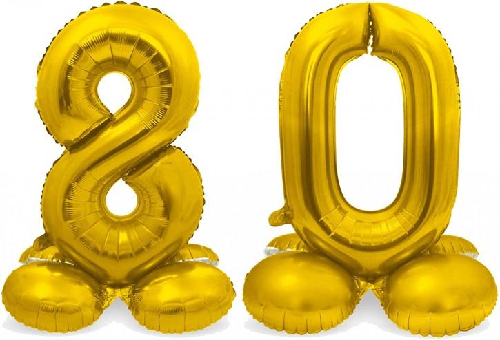 Stehende Folienballons in Gold - Zahl 80