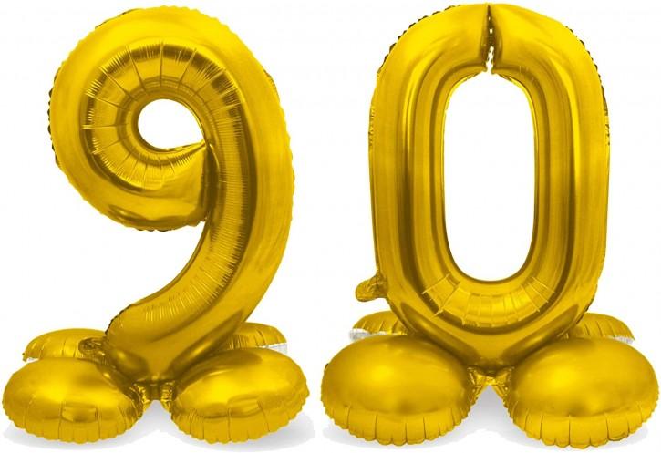 Stehende Folienballons in Gold - Zahl 90