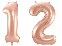 Folienballon-Set Zahl 12 - in Roségold
