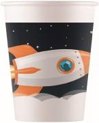 8 Party-Becher aus Pappe Astronaut & Weltraum