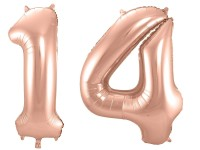 Folienballon-Set Zahl 14 - in Roségold