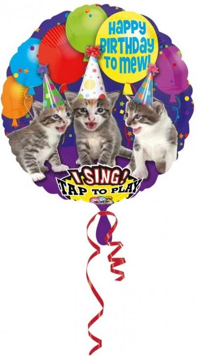 Singender Folienballon Süße Katzen