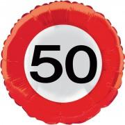 Folienballon 50. Geburtstag - Verkehrsschild-Design