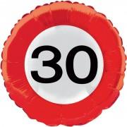 Folienballon 30. Geburtstag - Verkehrsschild-Design