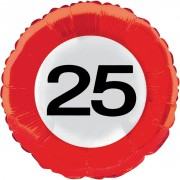 Folienballon 25. Geburtstag - Verkehrsschild-Design