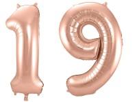 Folienballon-Set Zahl 19 - in Roségold