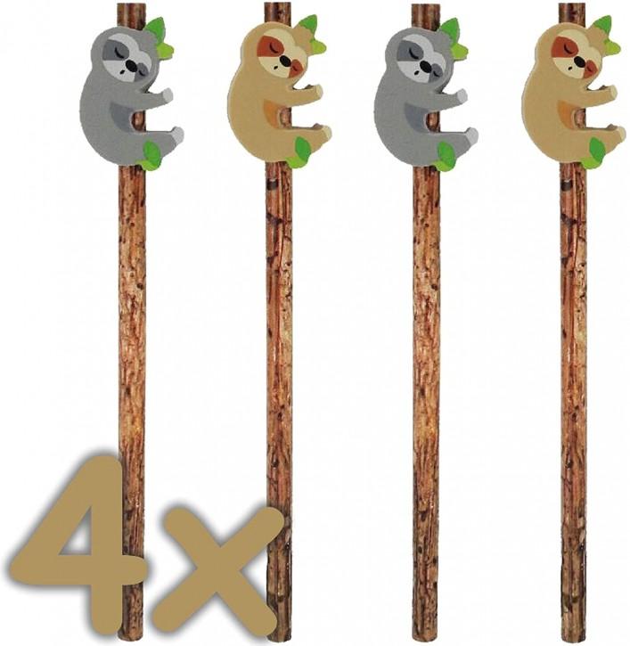 4 Bleistifte mit Radiergummi - Faultiere