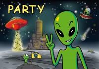 8 Einladungen Alien