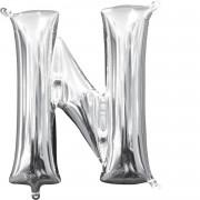 Folienballon Buchstabe N - in Silber