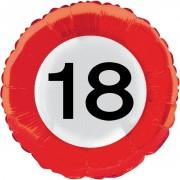 Folienballon 18. Geburtstag - Verkehrsschild-Design