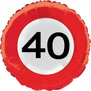 Folienballon 40. Geburtstag - Verkehrsschild-Design
