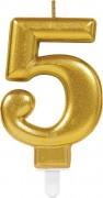 Zahlenkerze #5 - in Gold