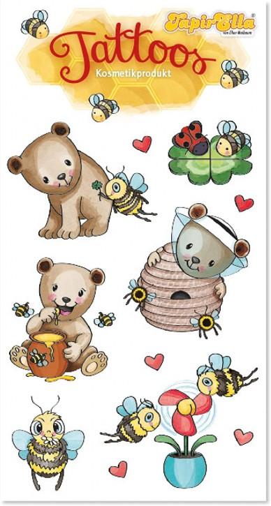 Süße Bienen und Bären Tattoos