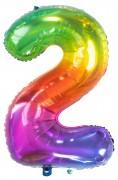 Regenbogen-Folienballon Zahl 2