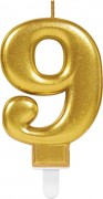 Zahlenkerze #9 - in Gold