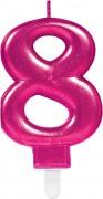 Zahlenkerze #8 - in Pink